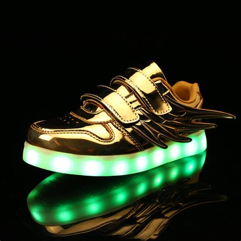 Wings New Led Shoes Silver Kecil fashion light up shoes with wings for boys