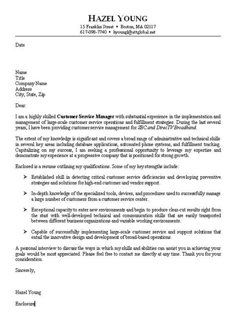 Cover Letter Sles Customer Service by Sle Customer Service Cover Letter