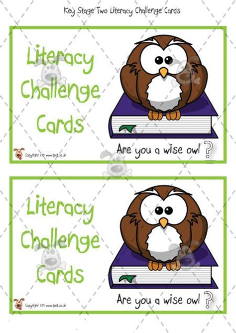 cards ks1 s pet key stage two literacy challenge cards