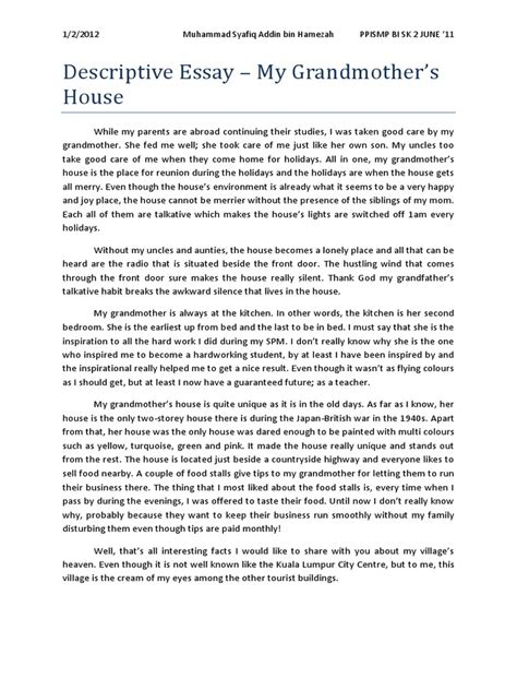My Grandmother Essay For by Narrative Essay About My Grandmother Docoments Ojazlink