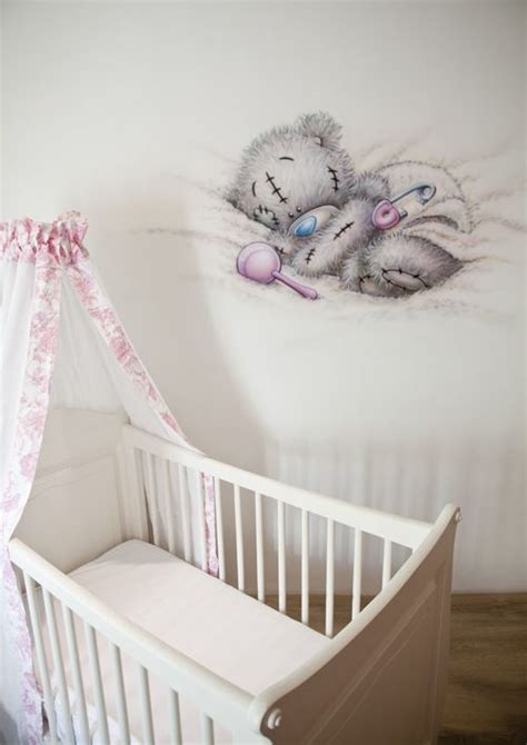 tatty teddy bedroom ideas r brush muurschildering in de babykamer van een me to you