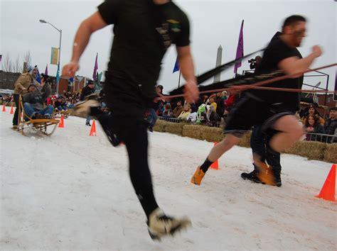mush sled mush human sled racing at lowell winterfest wbur