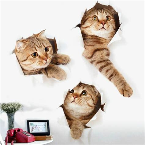 cat decor for the home 3d cat animal print home decor wall stickers just 2 51