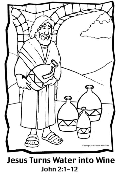 coloring pages jesus first miracle water into wine coloring page