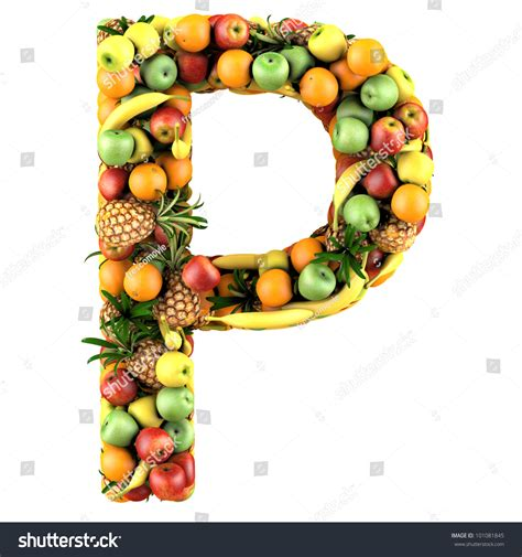 p letter fruits letter p made of fruits isolated on a white stock