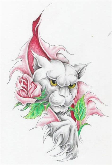 panther rose tattoo panther w 3 by markfellows deviantart on