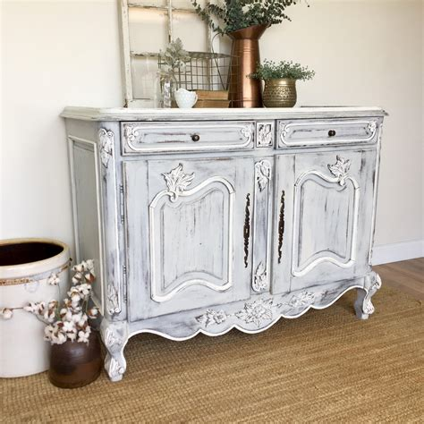shabby chic media console antique sideboard buffet country furniture