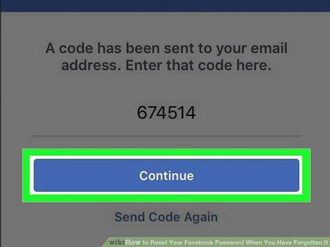 reset  facebook password    forgotten