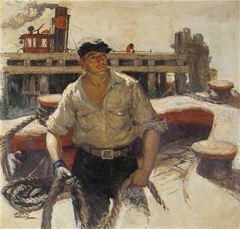 tugboat mate jobs mate on deck of tugboat illus by john a haelen on artnet
