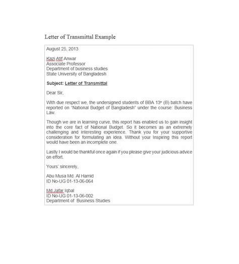 Transmittal Letter Outline Letter Of Transmittal 40 Great Exles Templates