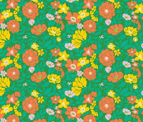 70s fabric leaf and bloom 70s floral wallpaper twoifbyseastudios