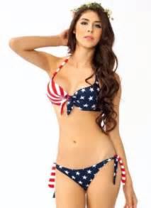 Sakura Duvet Swimwear Push Up Usa American Flag Stars And
