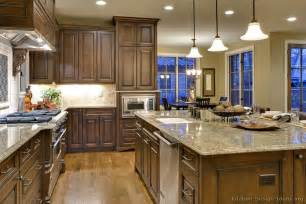 kitchen cabinets traditional blue accents brown