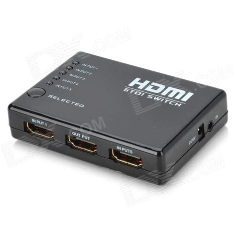 Switch Hdmi 5 port hdmi switch with ir remote controller w 5 in 1 out black free shipping dealextreme