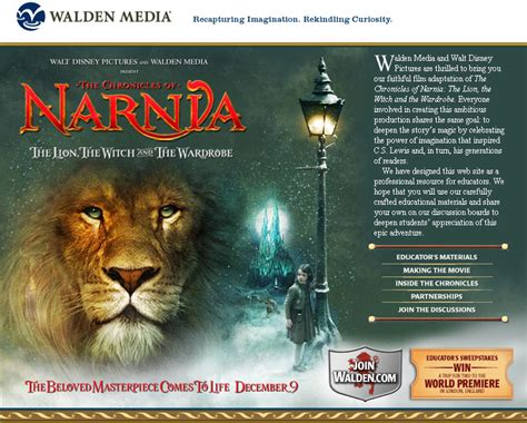 narnia film official website walden media launches narnia website narniaweb