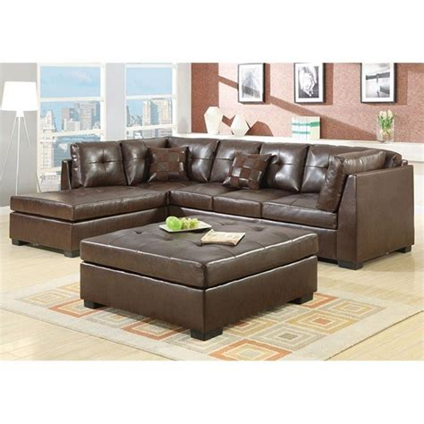 Darie Leather Sectional Sofa Coaster Darie Leather Sectional Sofa With Ottoman In Brown Ebay