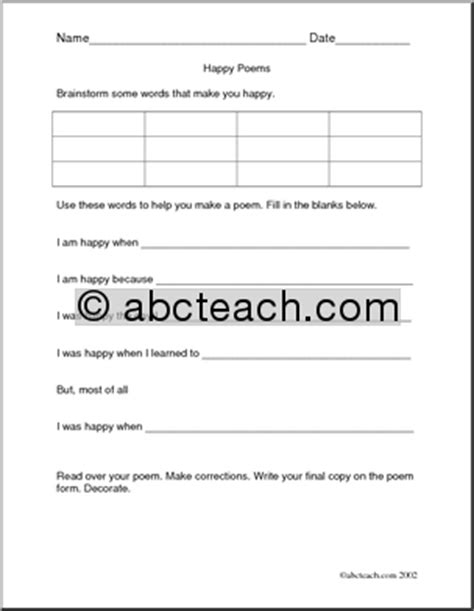Poetry Worksheets Middle School by Poetry Reading Comprehension Worksheets Free Activities