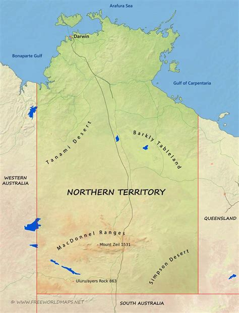 map northern australia physical map of northern territory australia