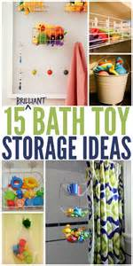 15 ways to store bath toys and magically declutter your great idea for bathtub toy storage kiddlets pinterest