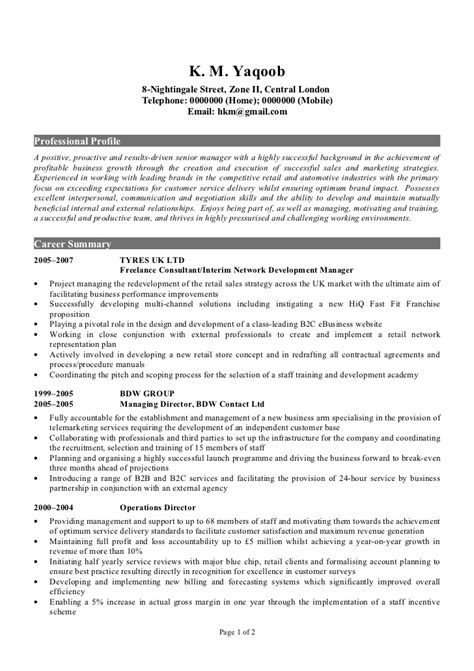 exle of a cv resume professional cv sle