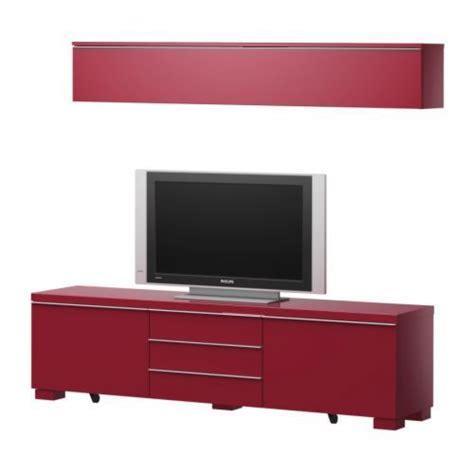 Combinaison Meuble Tv Laqué Rouge Ikea pas cher