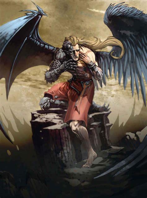 Divine Design by Half Angel Demon Drawing Illustration
