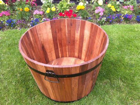garden barrel planter tubs patio acacia wood metal handles