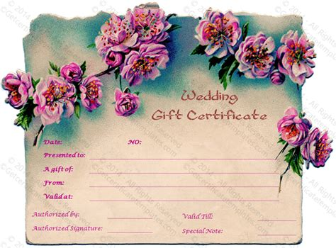 wedding present voucher ideas pink wedding gift certificate template
