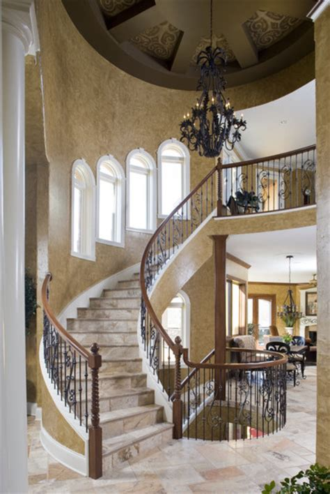 Villa Stairs Design Tuscan Villa Mediterranean Staircase Indianapolis By Karla Shone Designs