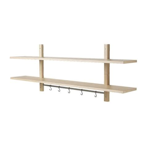 v 196 rde wall shelf with 5 hooks birch ikea