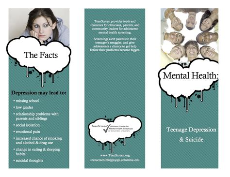 templates brochure mental health striving for mental health teen depression suicide brochure