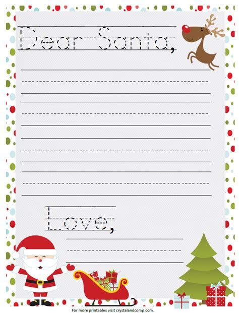 printable template for a letter to santa printable santa letter
