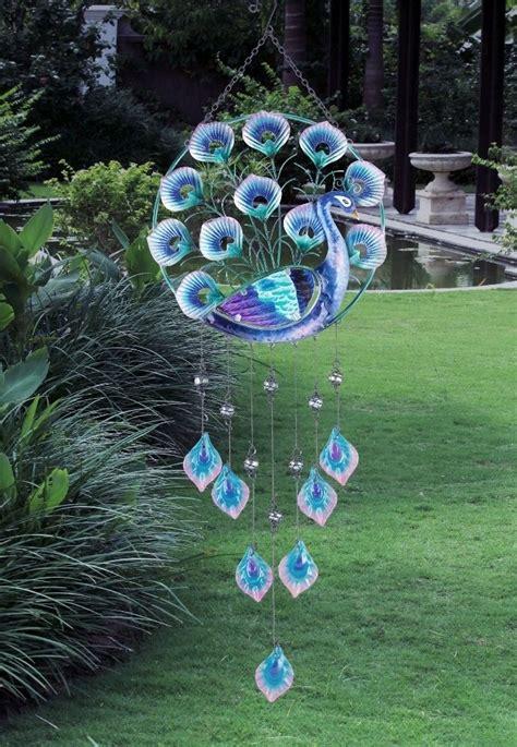 peacock wind chime glass metal bird wall hanging garden