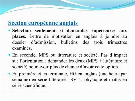 Lettre De Motivation Anglais Section Européenne S Inscrire En Seconde Informations Utiles Ppt T 233 L 233 Charger