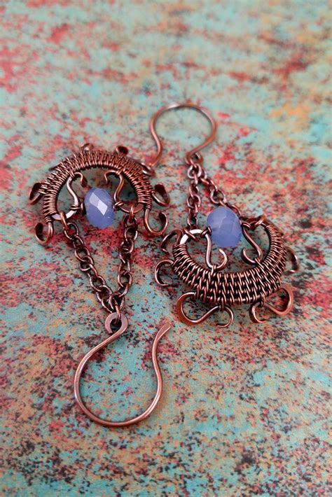cornflower blue opal lyonesse earrings chandalier earrings copper wire