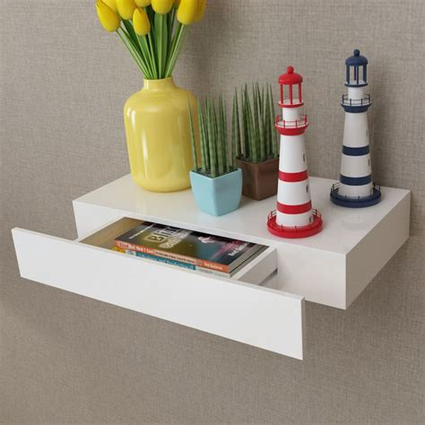porta lade vidaxl nl wandplank met lade mdf zwevend voor boeken dvd wit