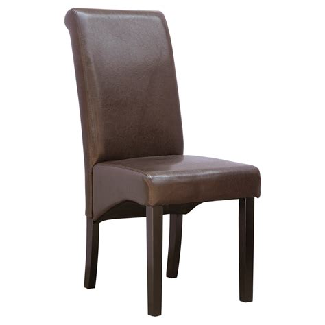 Cambridge Faux Leather Dining Chair W Roll Top High Back High Back Leather Dining Chairs