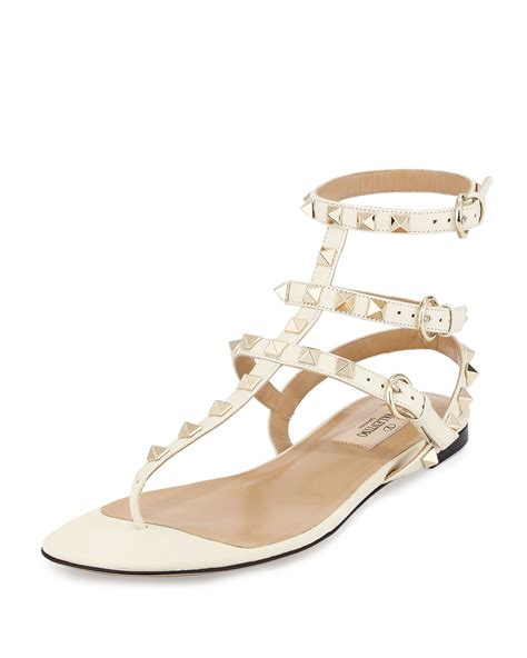 sandal valentino valentino rockstud leather gladiator sandals in white lyst