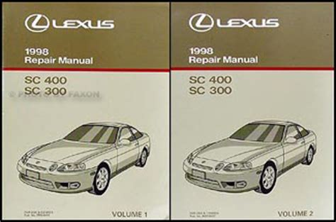 car repair manual download 1994 lexus sc auto manual 1998 lexus sc 300 400 repair shop manual original 2 volume set
