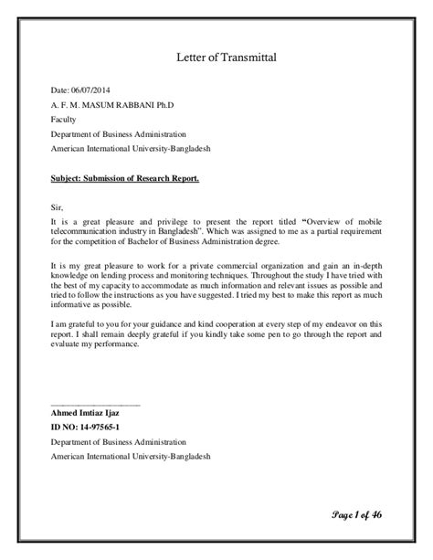 Transmittal Letter For Research Report Term Paper Letter Of Transmittal