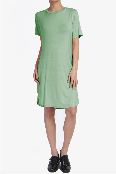 Ellegy Plain Casual Mini Dress themogan s plus size sleeve casual plain t shirt mini dress ebay