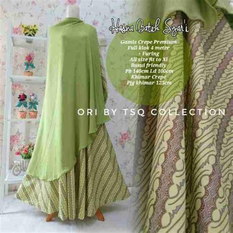 Gamis Hasna Hijau gamis katun premium b112 hasna batik baju muslim syar i