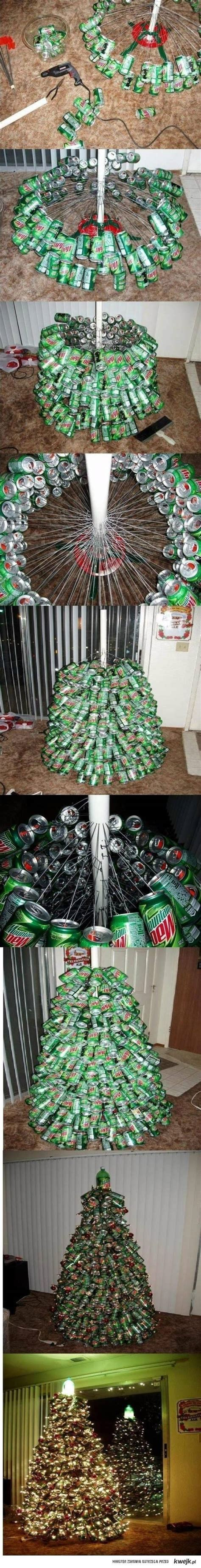 christmas tree made out of mountain dew cans interior