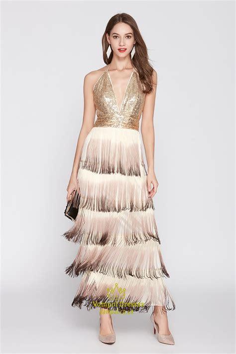 Tassel Dress Ruffle gold chagne sequin tassel v neck halter tiered ruffle