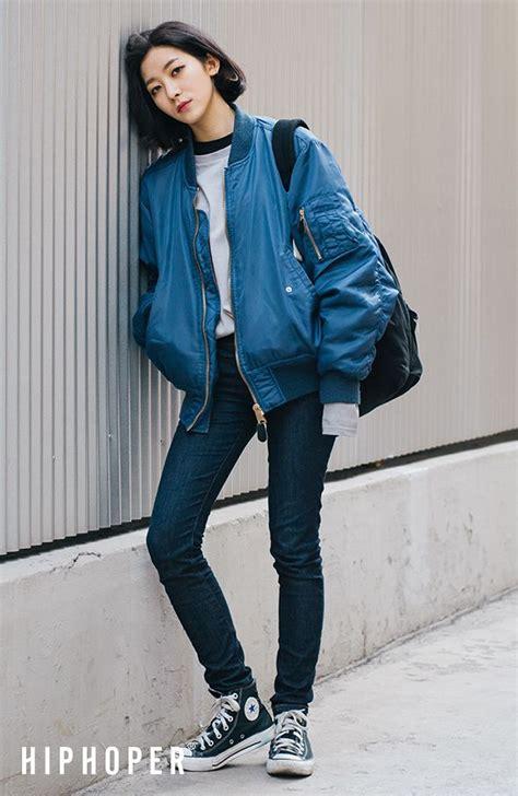 Korean Seven Style Blazer Style 85 alba s chic style blue bomber jacket navy and korean fashion