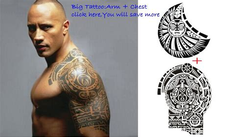 dwayne johnson brust tattoo tatuagem dwayne johnson tattoo 3d big waterproof large