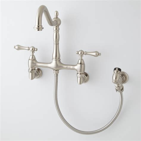 wall mounted kitchen sink faucets felicity wall mount kitchen faucet with side spray