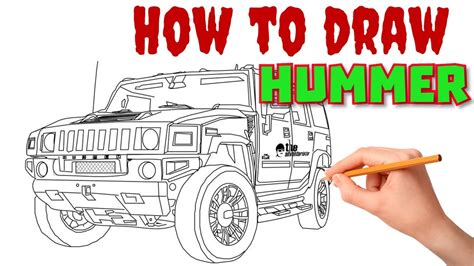 hummer drawing how to draw hummer by draw sketch
