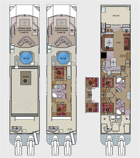 houseboat floor plans 75 foot odyssey class houseboat