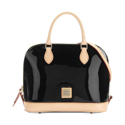 Hardy Leather And Patent Zip Top Purse by Dooney Bourke Patent Leather Zip Satchel In Black Lyst